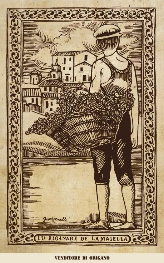 Venditore di origano - Xilografia di Vito Giovannelli
